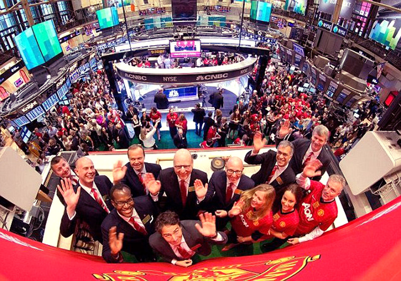Manchester United on its stock market debut in New York city