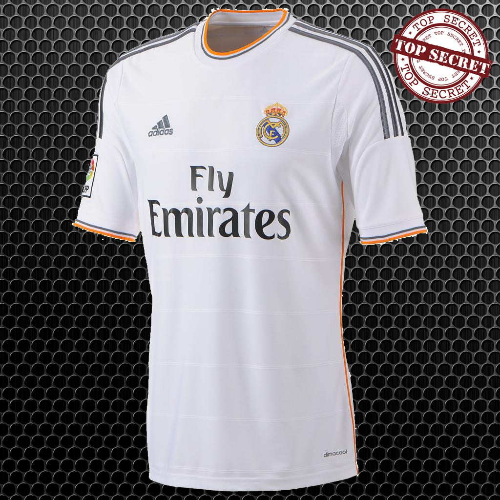 Real Madrid new jersey and shirt in 2013-2014, with Fly Emirates as the new sponsor