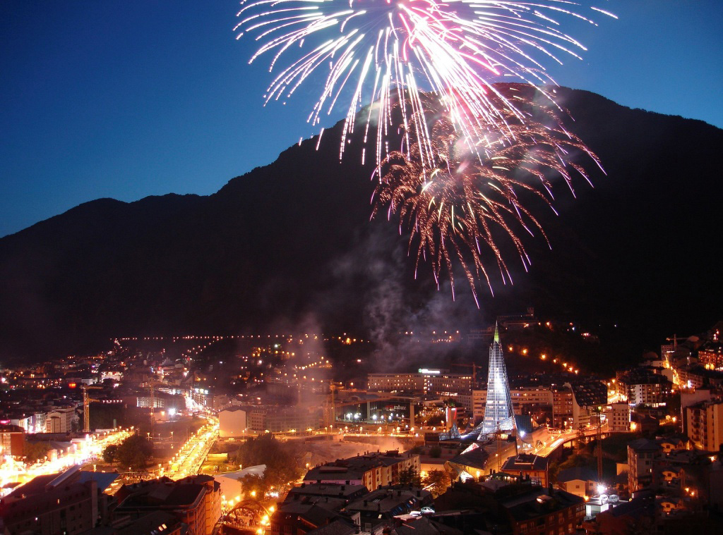 Andorra with fireworks at night wallpaper, in 2013