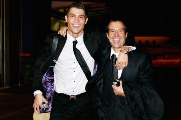 Cristiano Ronaldo and his football agent, Jorge Mendes