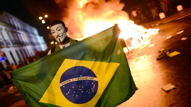 Riots in Brazil, with people generating chaos