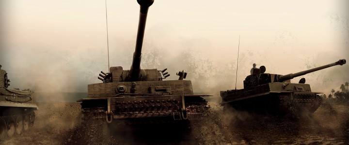 Wallpaper of military tanks during a war on the field