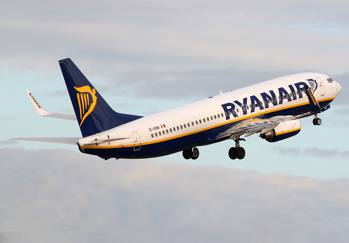 A Ryanair plane taking off, wallpaper