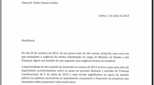 PortugalS Finance Minister Quits And Leaves Goodbye Letter
