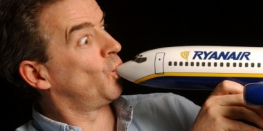 Ryanair CEO Michael O'Leary, sucking up a small airplane