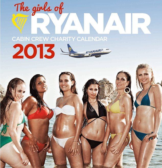 Ryanair girls calendar in 2013, the whole airplane cabin crew in bikini