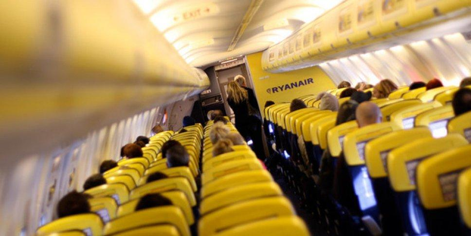 The view from the inside of a Ryanair airplane