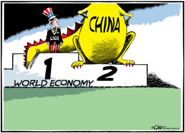 A funny US and China comic drawing, about leading the World economy