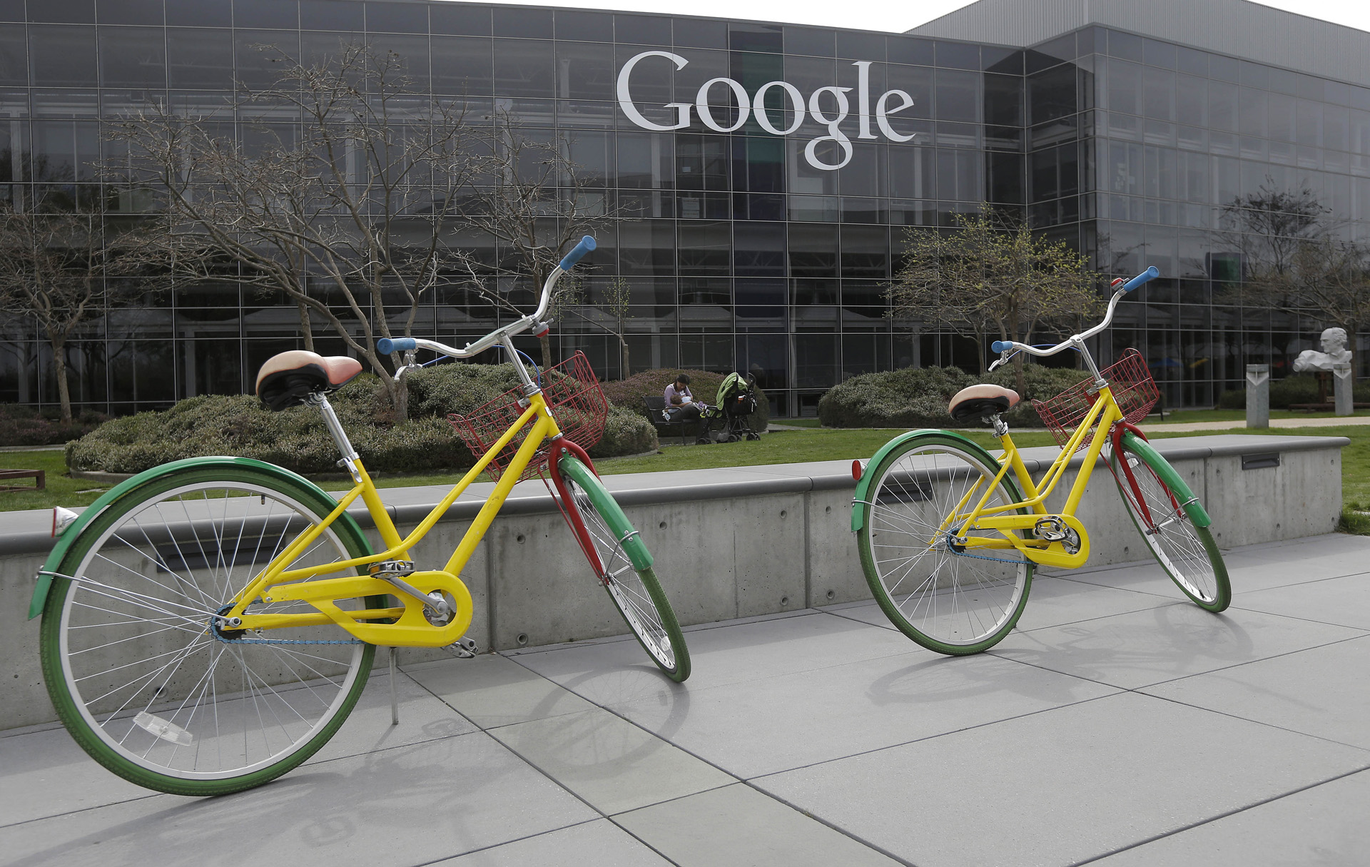 Google wallpaper, building and bicycles