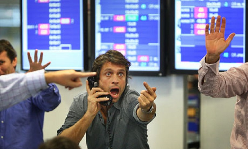 Man in panic in stock markets
