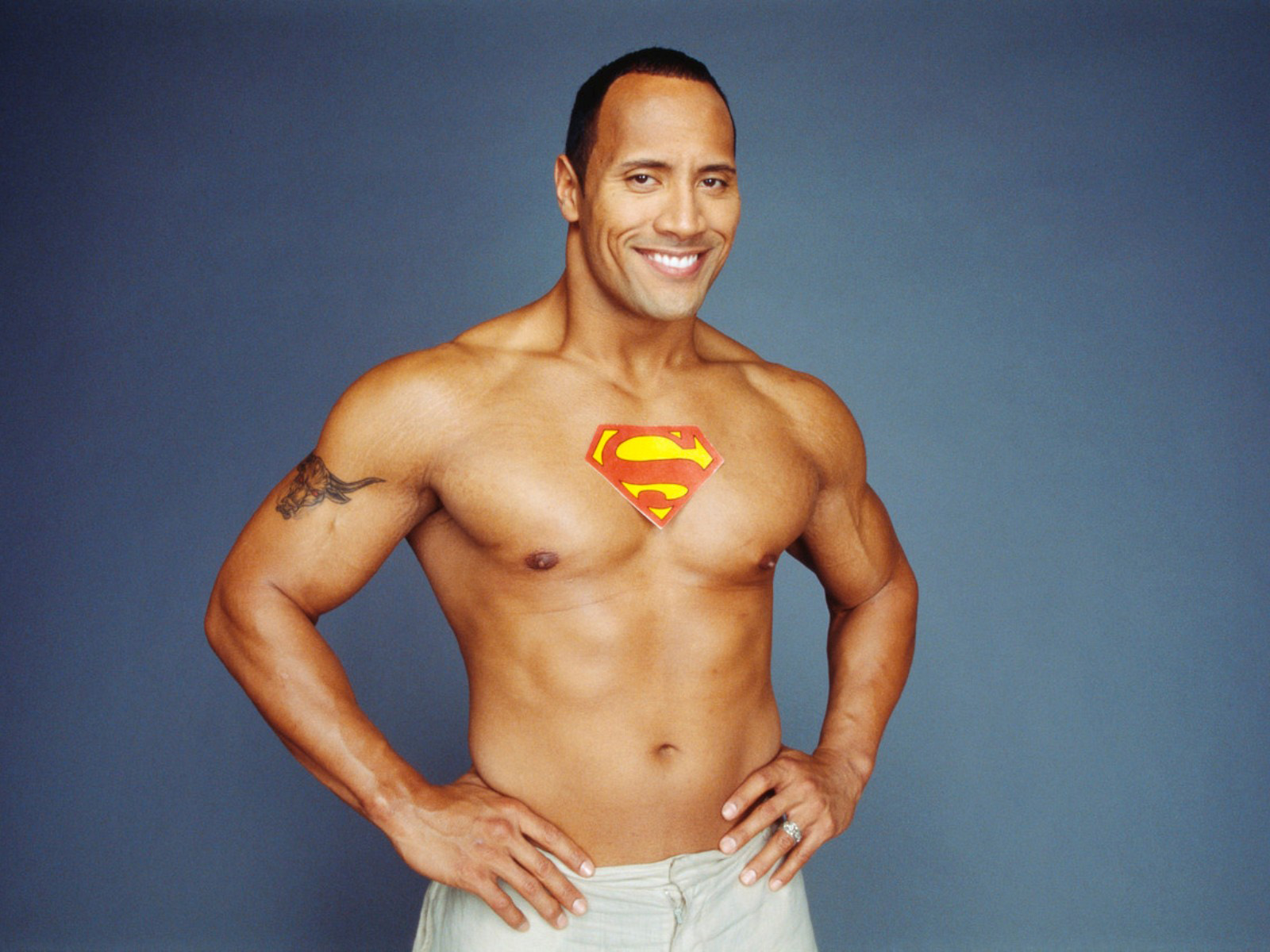 Dwayne Johnson The Rock shirtless muscles wallpaper