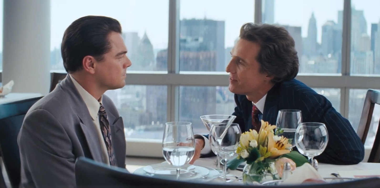 Leonardo Di Caprio and Matthew Mcconaughey scene, in the Wolf of Wall Street