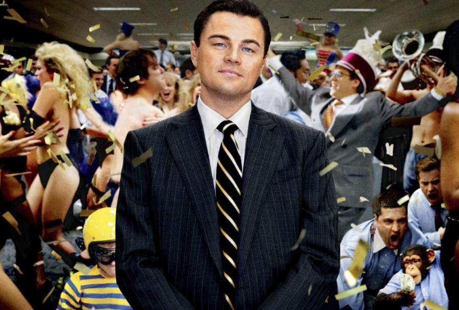 Leonardo Di Caprio in the Wolf of Wall Street film cover