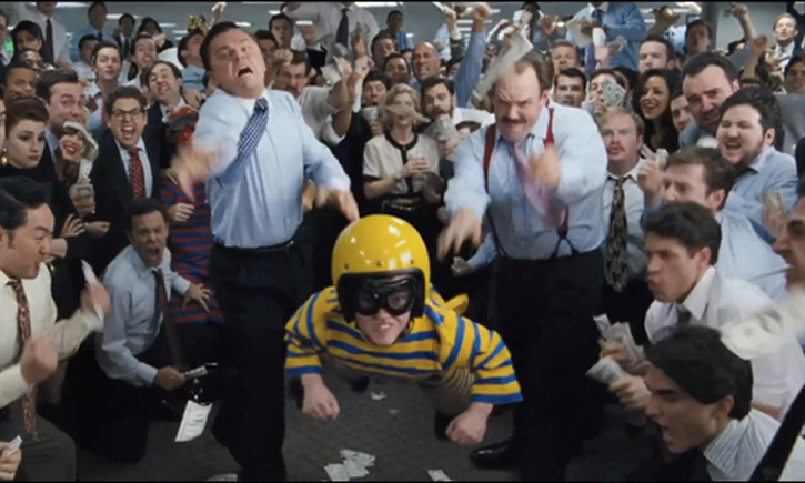 Party in work, with throwing midgets games, in The World of Wall Street