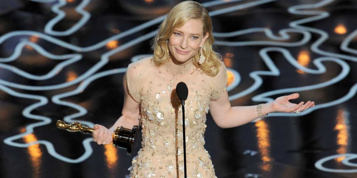 Cate Blanchett winning the oscar for best actress in a leading role, in 2014
