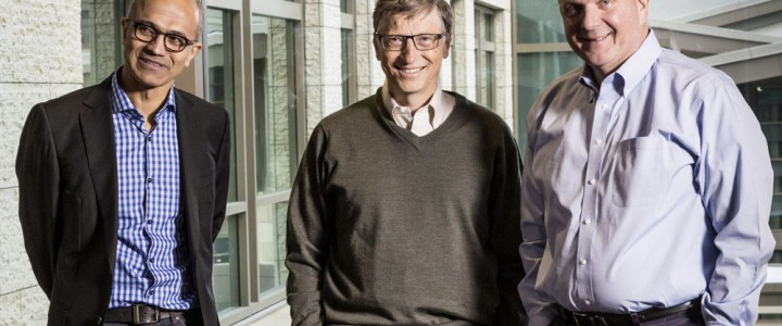 bill gates and Steve Ballmer microsoft shares stocks price portfolio equity 2014 2015 old pic photo image new satya nadella