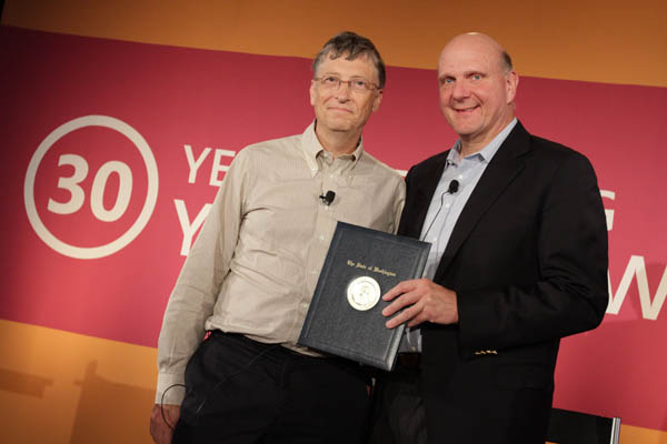 bill gates and Steve Ballmer microsoft shares stocks price portfolio equity 2014 2015 old pic photo image new
