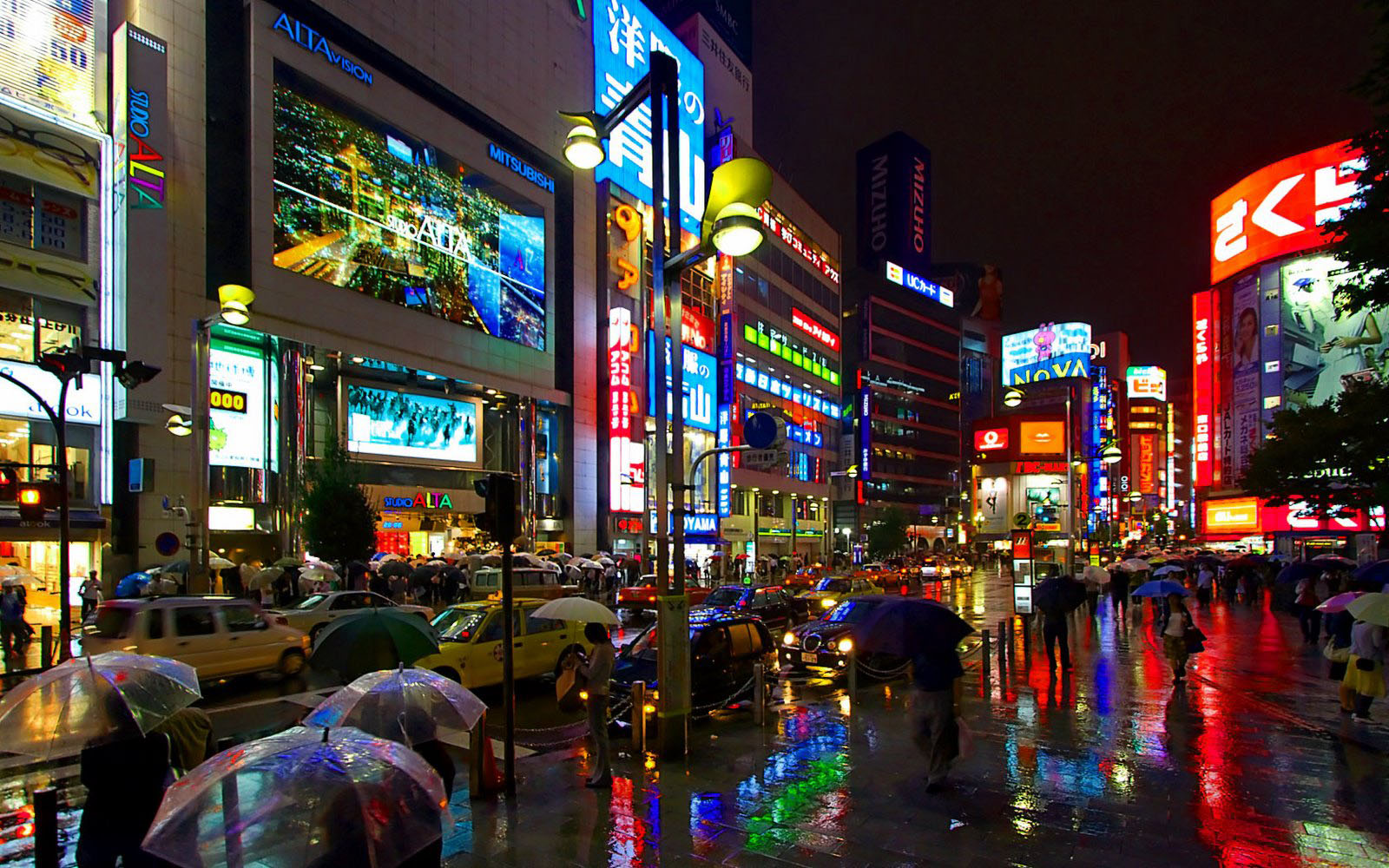 Tokyo Japan, business street with giant screens walpaper