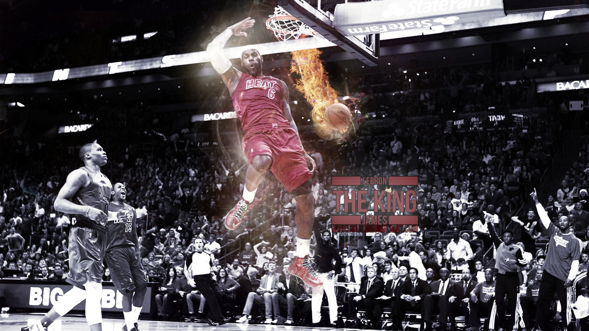 LeBron James dunking, special effects wallpaper