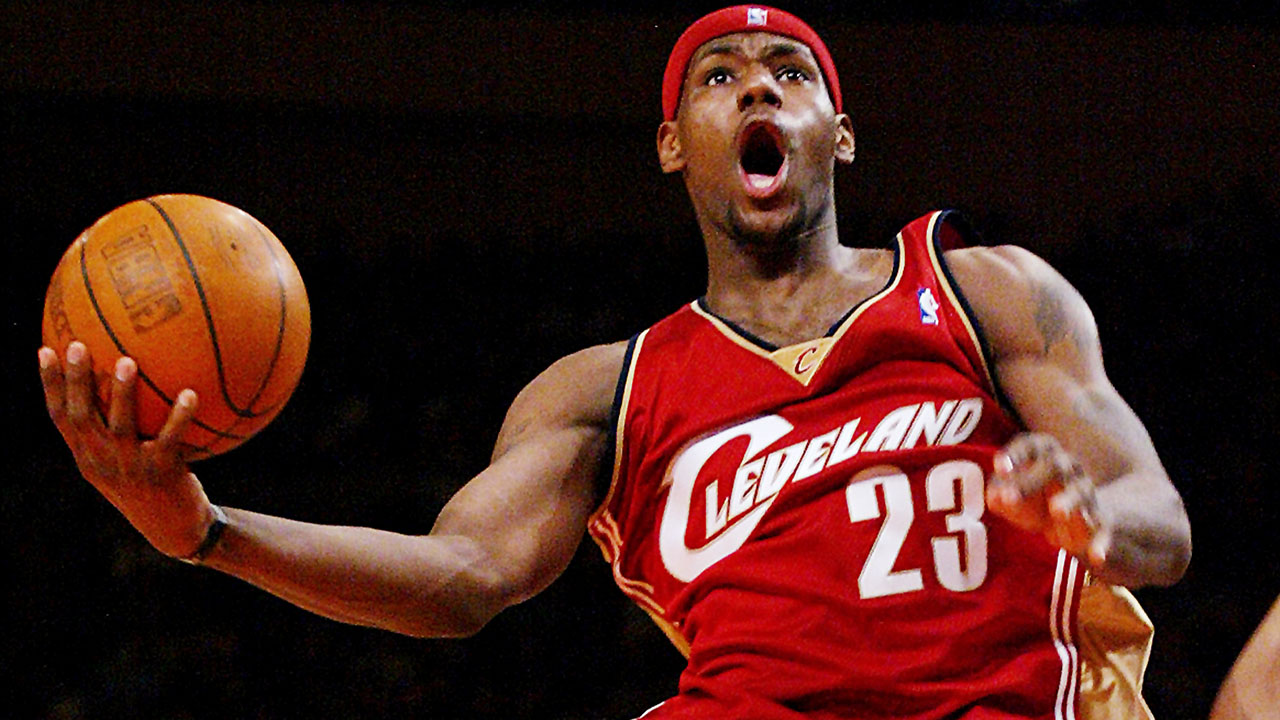 LeBron James playing basketball for the Cleveland Cavaliers