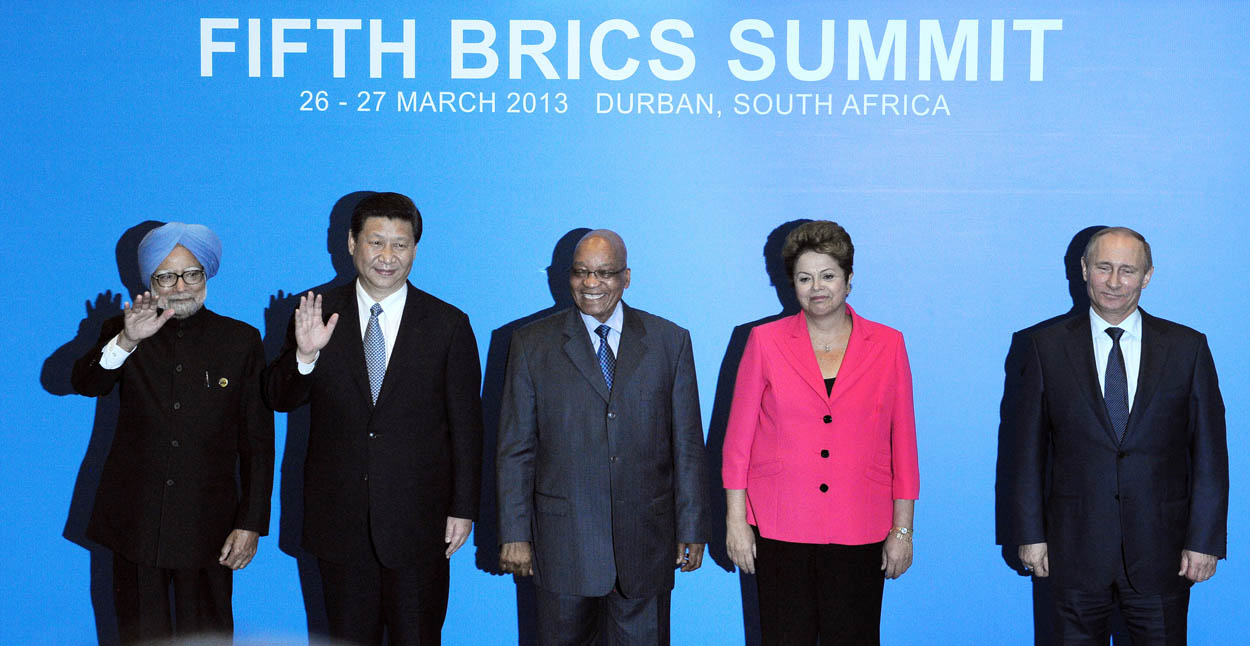 The famous BRIC - Brazil, Russia, India and China here represented by their leaders