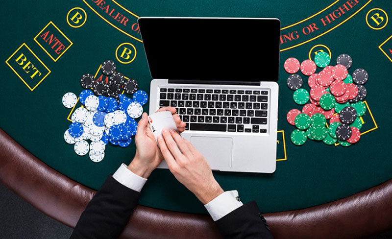 Laptop on a blackjack table