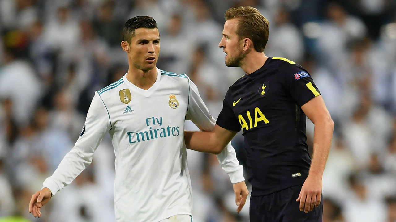 Cristiano Ronaldo and Harry Kane in a Champions League match between Real Madrid and Tottenham in 2017