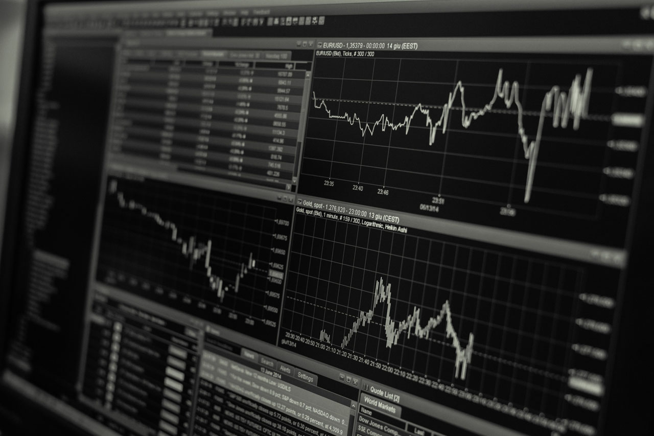 Black and white trading charts