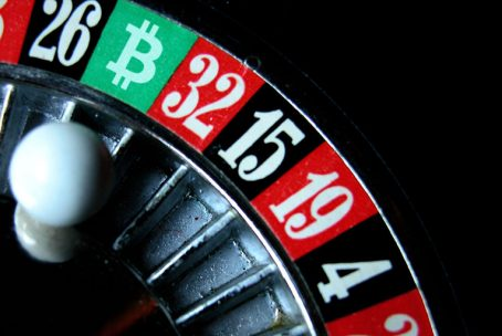 Bitcoin symbol in a roulette table for gambling