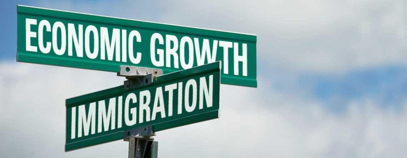 Economic growth and immigration road signs