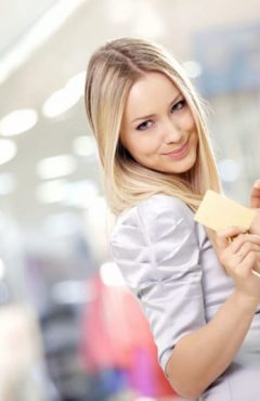 Girl shopping with credit card