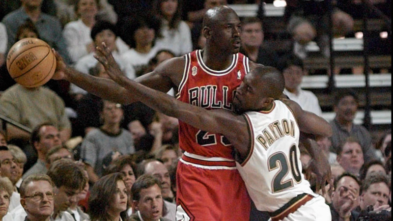 Michael Jordan hand checking