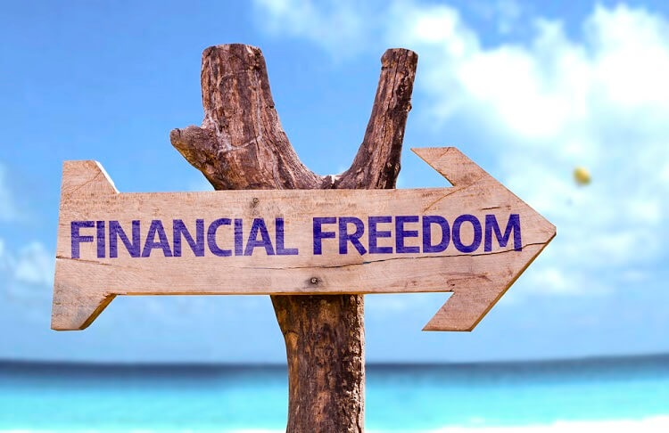 A financial freedom road sign
